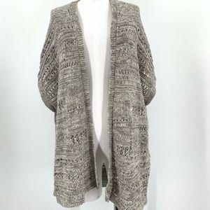 Eileen Fisher Gray Knit Open Short Sleeve Cardigan